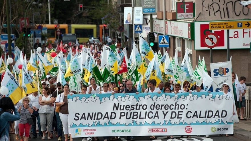 Protesta sindical celebrada en Santa Cruz por una sanidad pública y de calidad