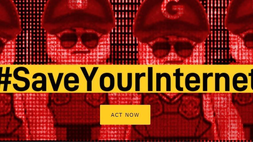 Imagen de la campaña Save Your Internet contra la directiva europea de copyright.