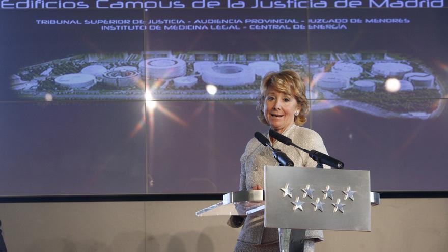 Apr 29, 2008: La presidenta de la Comunidad de Madrid, Esperanza Aguirre, durante su intervención tras la colocación de la primera piedra de los cinco grandes edificios que formarán parte del Campus de la Justicia de Madrid que albergarán las sedes del Juzgado de Menores, la Central de Producción de Energía, la Audiencia Provincial, el Tribunal Superior de Justicia y del Instituto de Medicina Legal.