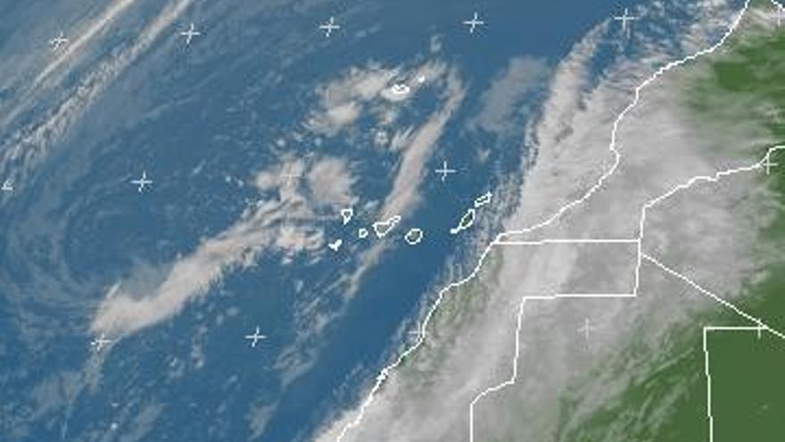 Imagen de la borrasca sobre Canarias (Meteosat)