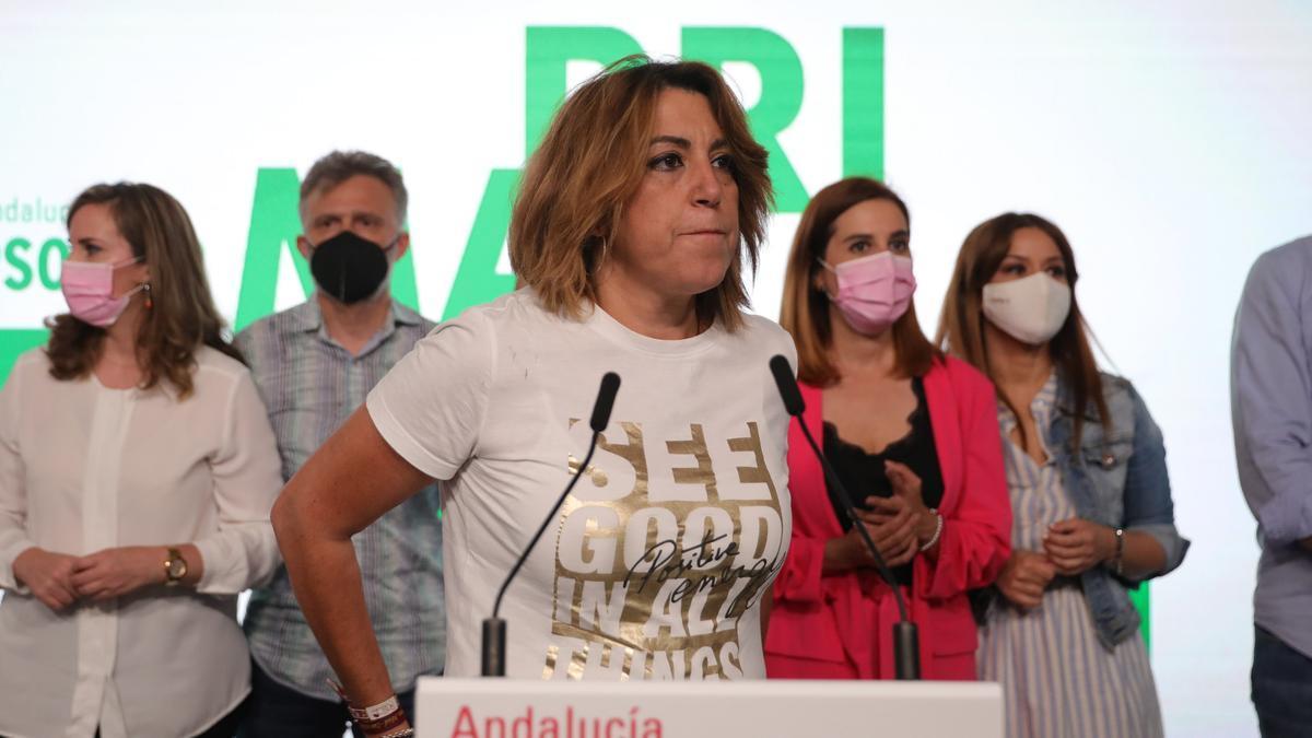 La secretaria general del PSOE-A, Susana Díaz , perdedora en las primarias del PSOE-A, en rueda de prensa