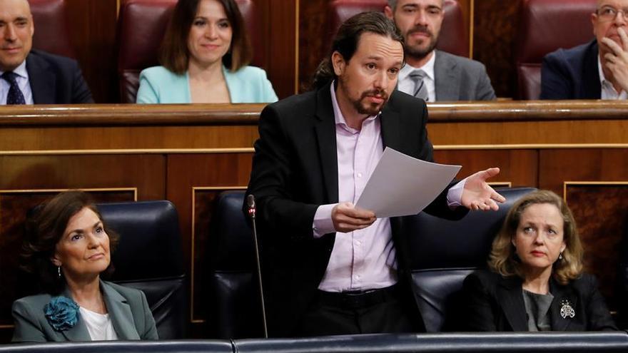 El vicepresidente de Derechos Sociales, Pablo Iglesias, en la sesión de control al Gobierno el 19 de febrero de 2020.