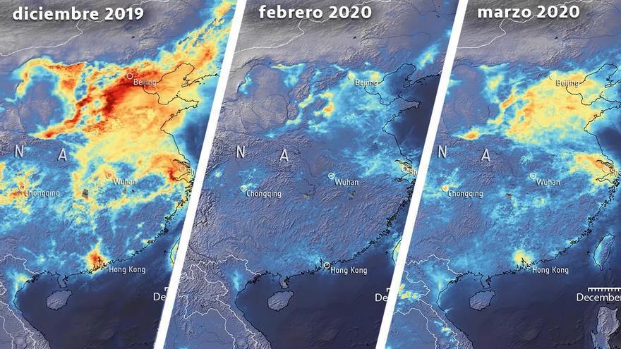 Evolución de la concentración de dióxido de nitrógeno en China durante la crisis del COVID-19