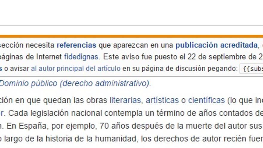 La incompleta entrada de Wikipedia sobre el dominio público