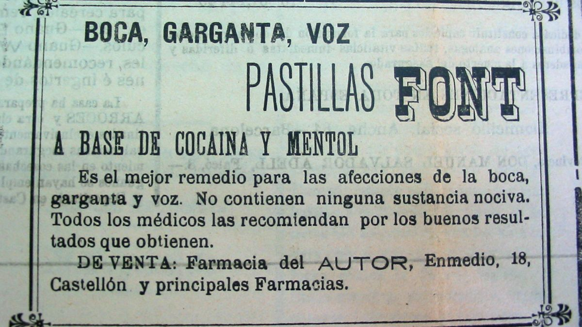 Anunci de pastilles de cocaïna a l'Heraldo de Castelló.