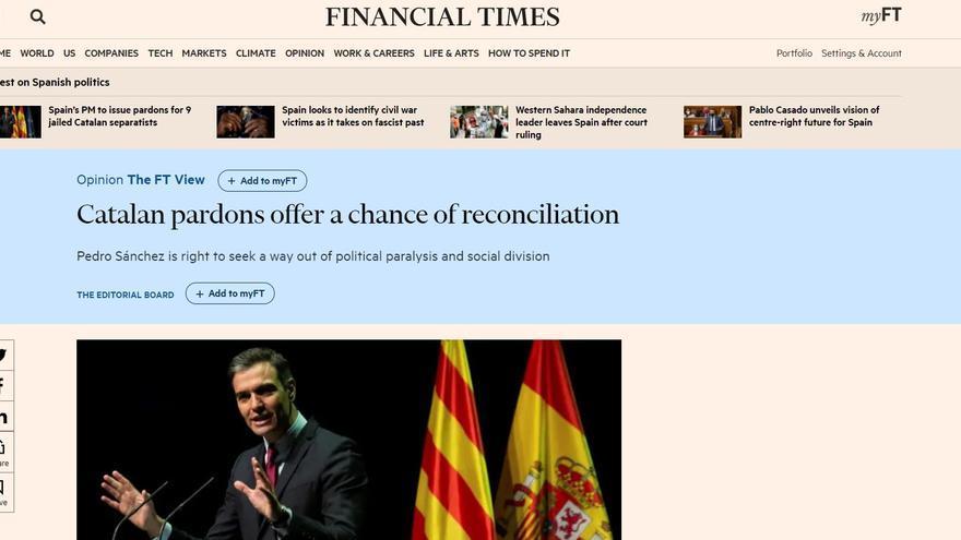 Editorial del Financial Times sobre los indultos a los presos del procés