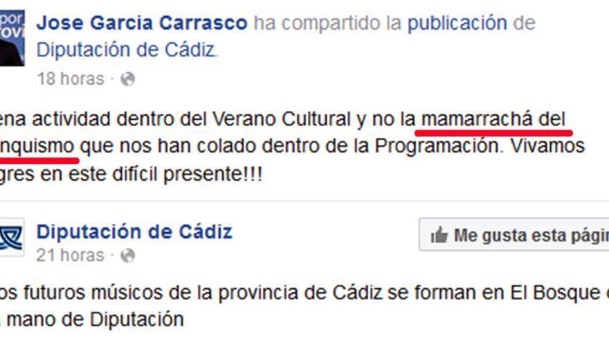 Publicación de José García en su perfil de Facebook.