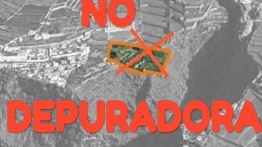 Cartel en contra de la EDAR prevista por el Consejo Insular de Aguas en La Victoria de Acentejo