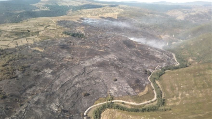 """El incendio de Ruerrero está """"prácticamente extinguido"""" tras quemar casi 250 hectáreas de matorral"""