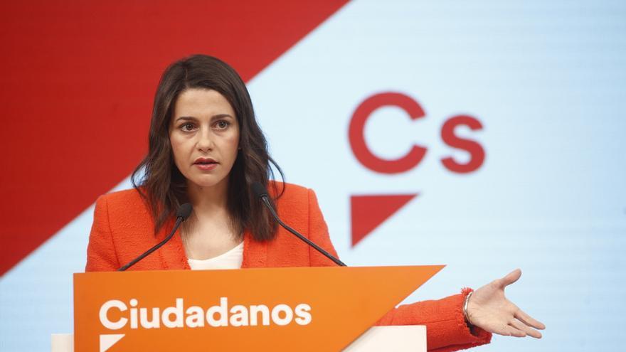 Inés Arrimadas en la rueda de prensa tras la reunión de la Ejecutiva de Cs