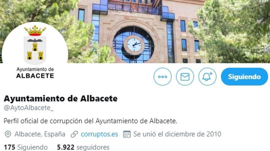 """El perfil de """"corrupción"""" del Ayuntamiento de Albacete, tras el hackeo de la cuenta de Twitter"""