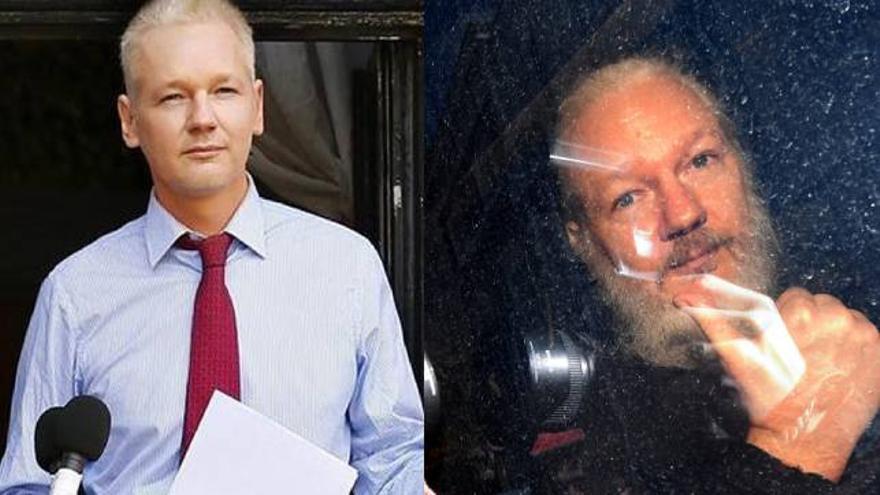 Fotografía de archivo (izq), con fecha del 19 de agosto de 2012, junto a una fotografía (dcha) de la detención de Julian Assange el 11 de abril de 2019.