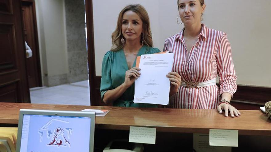 La responsable de Mujer y LGTBI de Ciudadanos, Patricia Reyes, y la portavoz adjunta, Melisa Rodríguez