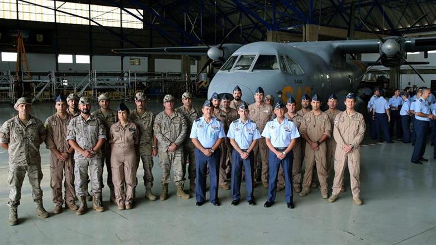 El 802 Escuadrón de las Fuerzas Aéreas en la Base Aérea de Gando (Gran Canaria). Efe