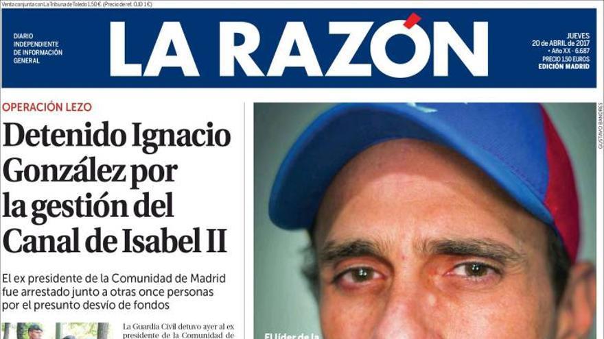 Portada 'La Razón' 20/04/2017