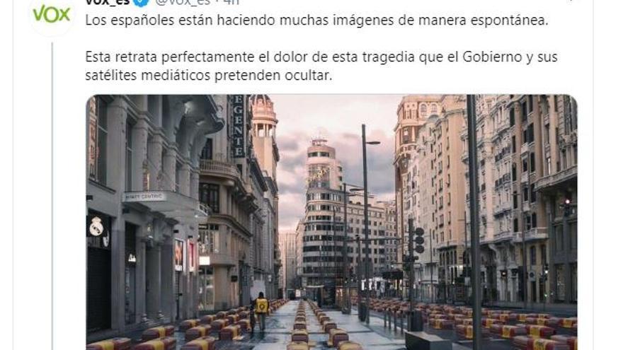 Tuit de Vox con el montaje de una fotografía del autor Ignadio Pereira