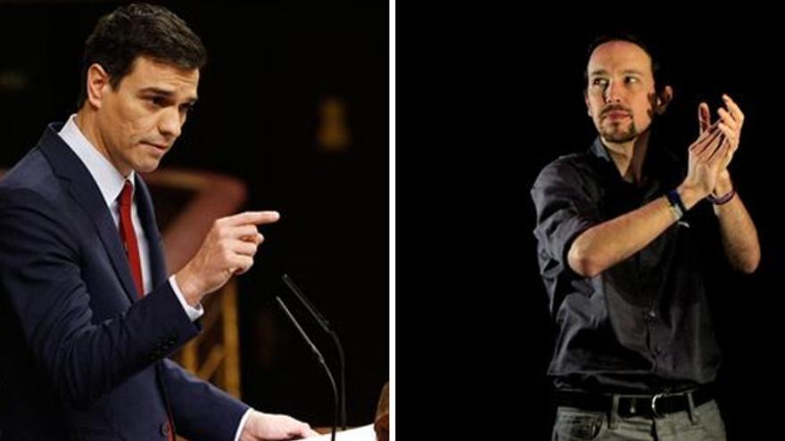 Pedro Sánchez y Pablo Iglesias. Quieren pactar, pero solo puede quedar uno.