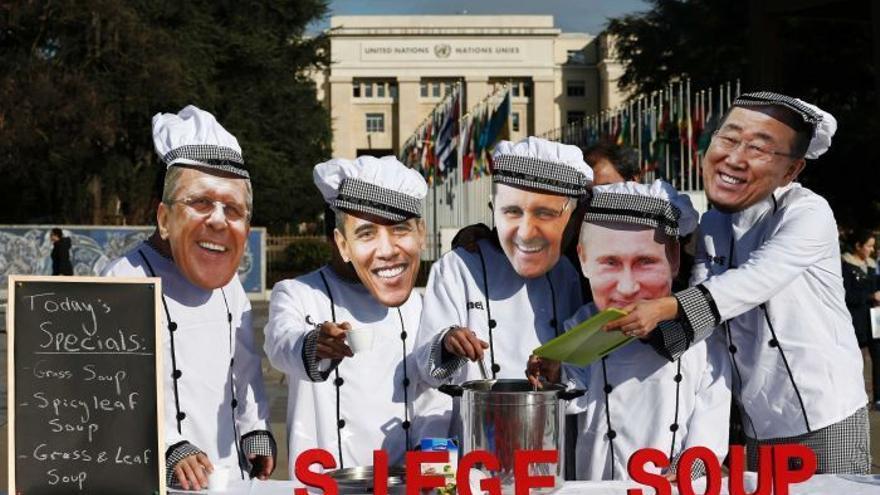 """""""Sopa de asedio"""", imagen satírica de la reunión sobre el futuro de Siria en Ginebra. Fuente: SyriaUntold"""