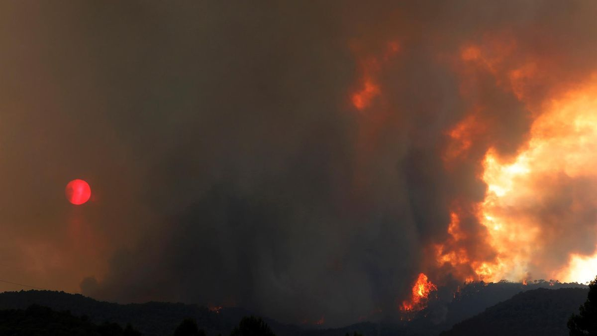 El incendio originado en Santa Coloma de Queralt (Conca de Barberà), el sábado por la tarde.