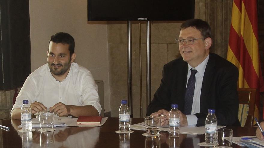 El conseller de Educación, Vicent Marzà (Compromís), y el President de la Generalitat, Ximo Puig (PSPV)