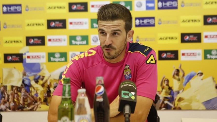 El portero de la UD Las Palmas, Javi Varas, durante una rueda de prensa. (Página oficial UD Las Palmas).
