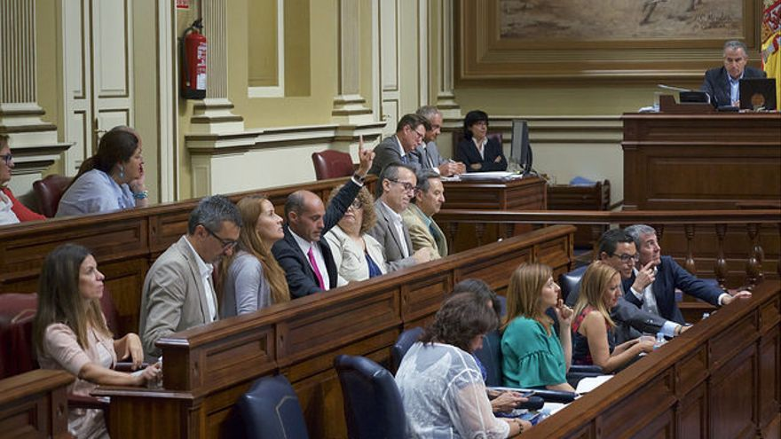 Bancada del Gobierno canario y de Coalición Canaria en el Parlamento de Canarias