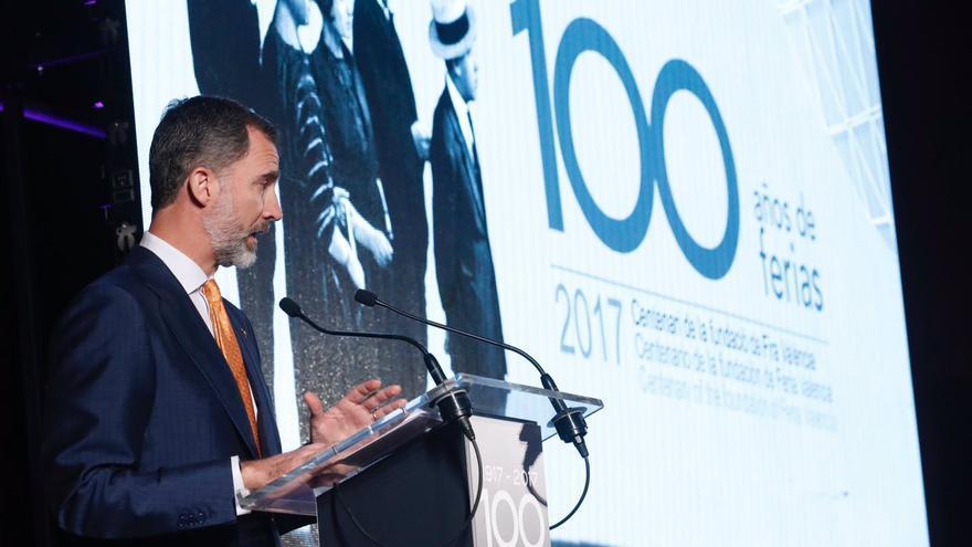 El rey Felipe interviene en el acto conmemorativo del centenario de Feria Valencia