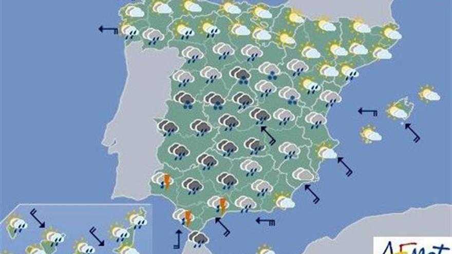Hoy, lluvia intensa en Andalucía y Levante con temperaturas más suaves