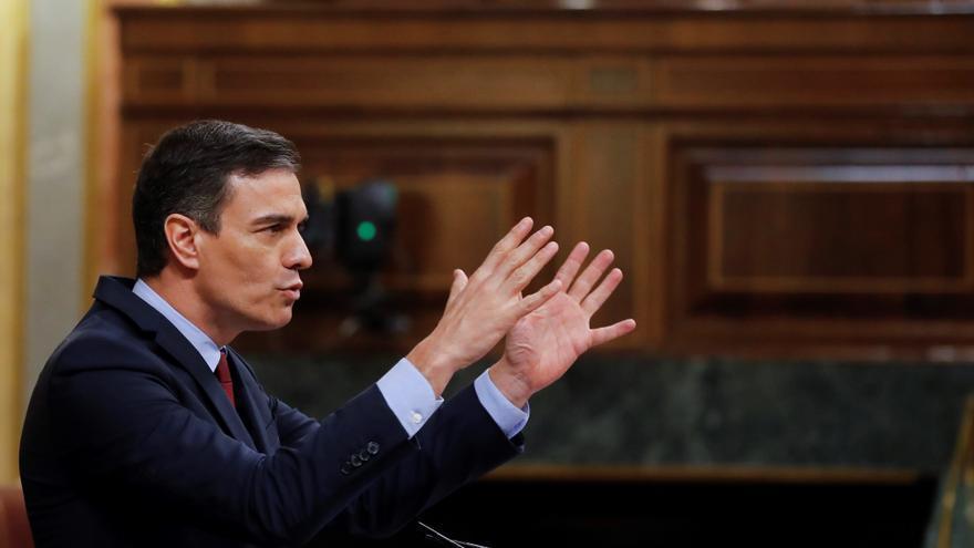 El presidente del Gobierno, Pedro Sánchez, durante su intervención en el pleno del Congreso que debate y vota este miércoles la quinta prórroga del estado de alarma