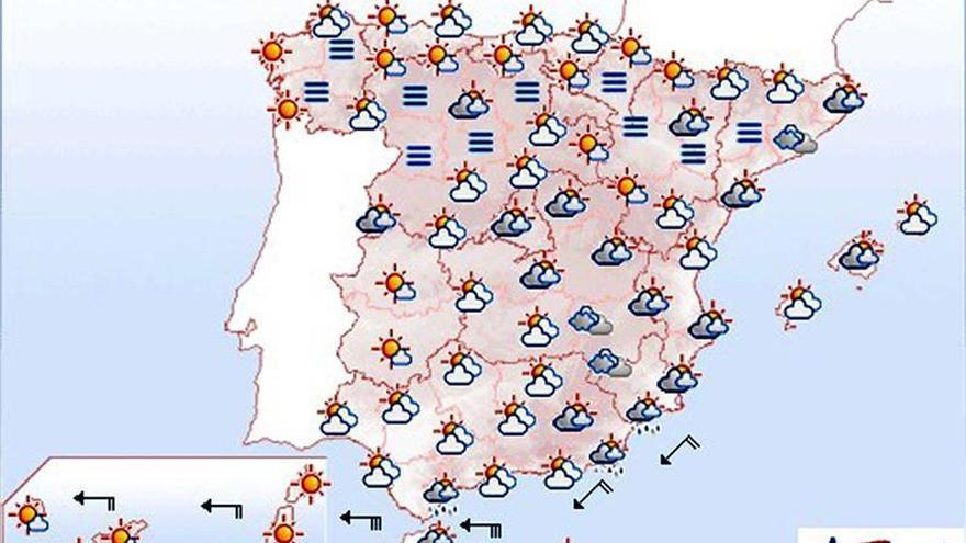 Hoy, nuboso en el área mediterránea y lluvias débiles en el Estrecho