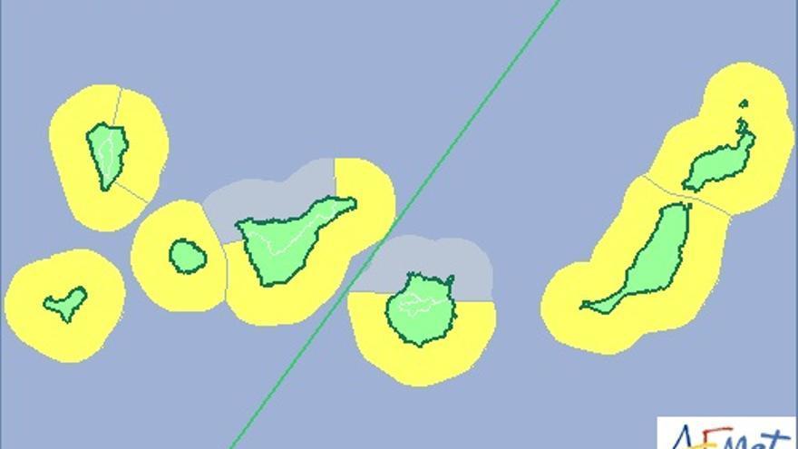 Mapa de riesgo por fenómeno costero de la Aemet hasta las 00:00 del viernes.