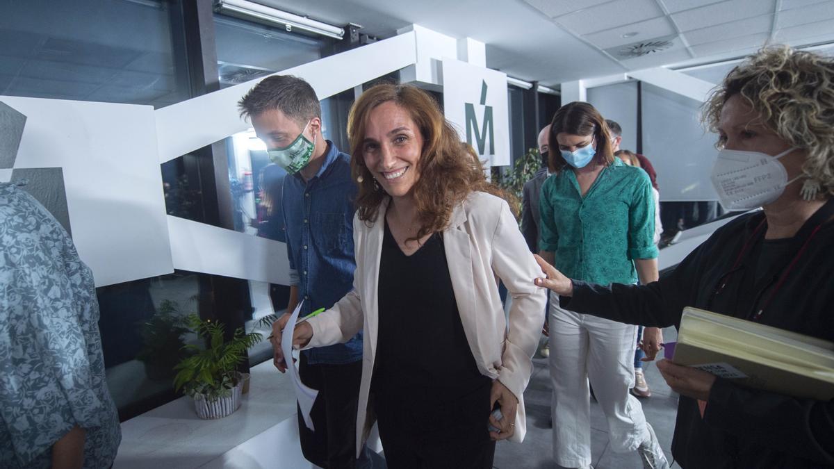 Mónica García, Iñigo Errejón y Rita Maestre en la noche electoral del 4 de mayo de 2021.