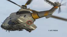 Súper Puma HD21-10 accidentado en Gran Canaria. En rojo el ojo de buey por el que Jhonander Ojeda salvó su vida. (ATC Press).