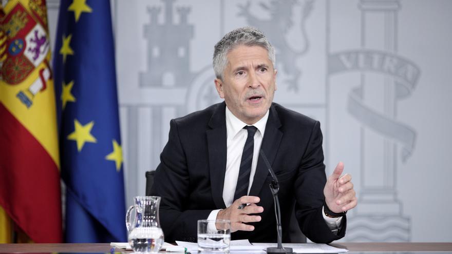 El ministro del Interior en funciones, Fernando Grande-Marlaska, comparece en rueda de prensa, en Moncloa para informar de la reunión del Comité de seguimiento de la situación en Cataluña, en Madrid, a 18 de cotubre de 2019