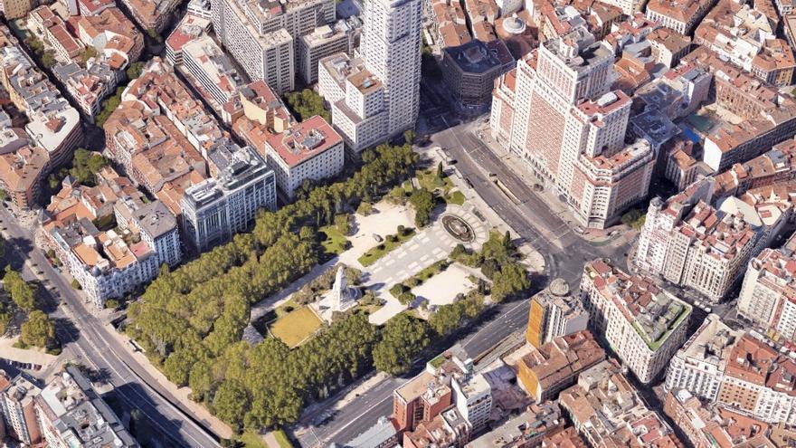 La Plaza de España en una captura de Google Maps.