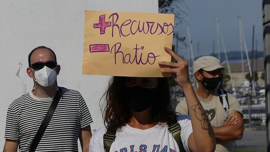 Protesta contra el protocolo de vuelta al colegio de la Xunta en Vigo.