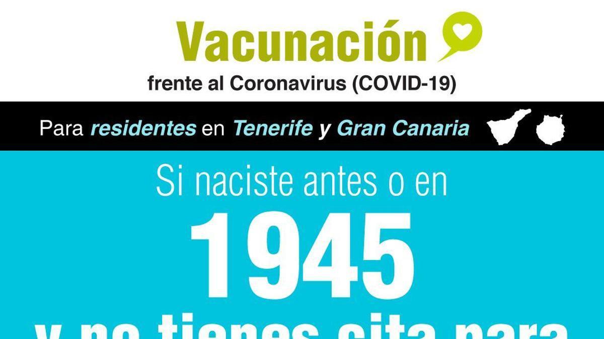Cartel de Sanidad sobre la vacunación en Tenerife y Gran Canaria contra la COVID