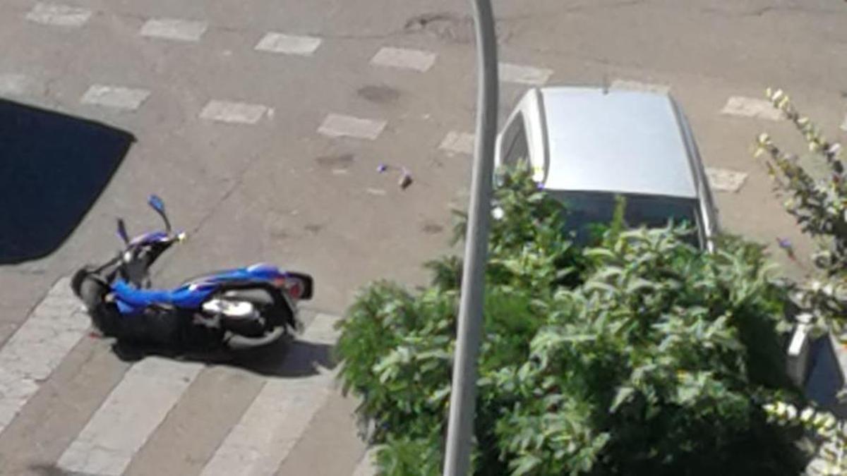 La motocicleta, tras el accidente