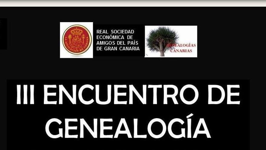 Cartel del III Encuentro de Geneaología de Gran Canaria.