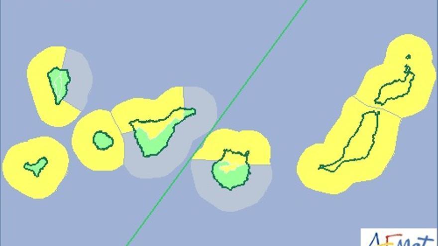 Mapa de la Aemet de aviso de riesgo amarillo por fenómeno costero y  lluvias para este domingo.