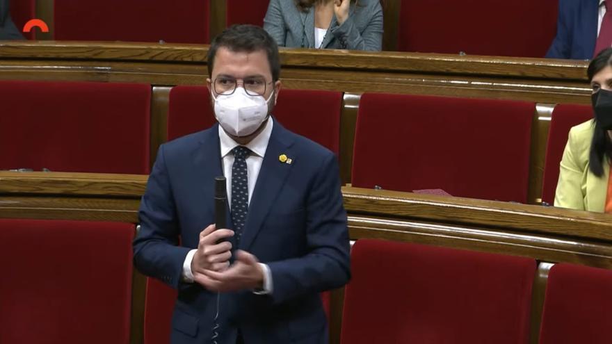 El vicepresidente de la Generalitat en funciones, Pere Aragonès, en la sesión de control en el pleno del Parlament.