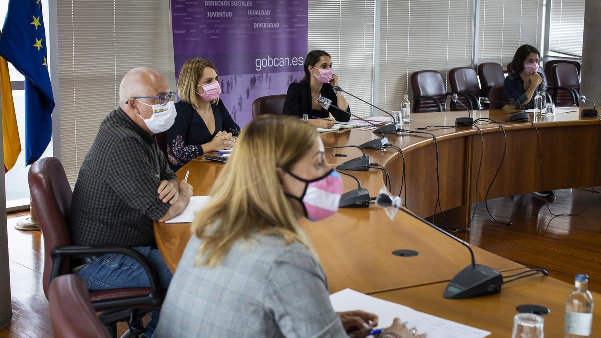La consejera de Derechos Sociales, Igualdad, Diversidad y Juventud del Gobierno de Canarias, Noemí Santana, y la secretaria de Estado de Igualdad y Contra la Violencia de Género, Noelia Vera, durante un encuentro con colectivos LGTBI de las Islas.