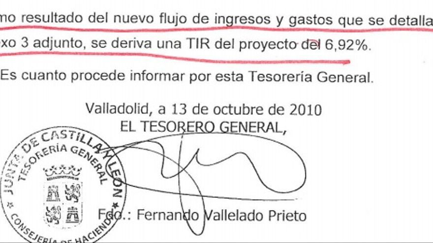 Un documento oficial de la Junta reconoce una rentabilidad del 6,92% anual en el Hospital Universitario de Burgos.