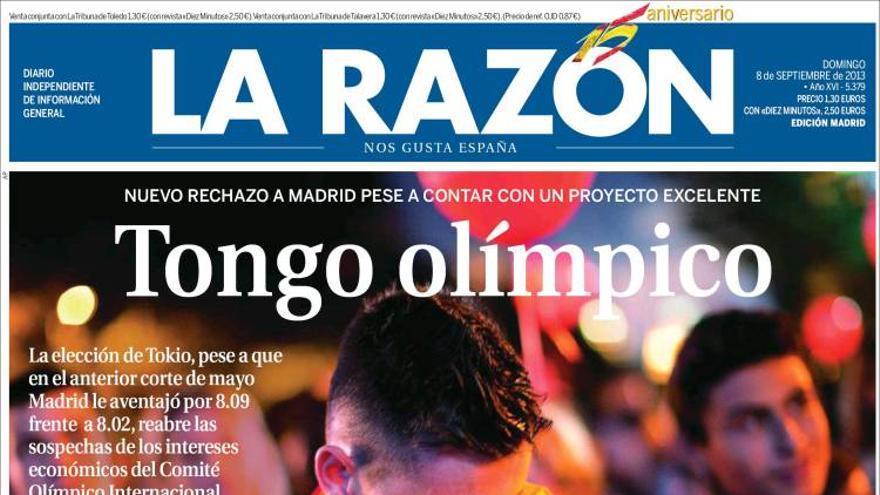 'Tongo olímpico'. La portada de La Razón tras la derrota de Madrid 2020. Fuente: Kiosko.net