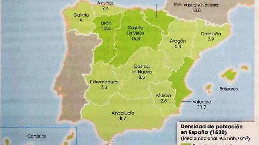 El libro omite el Reino de Granada, pero reconoce las castillas o la unión del País Vasco y Navarra