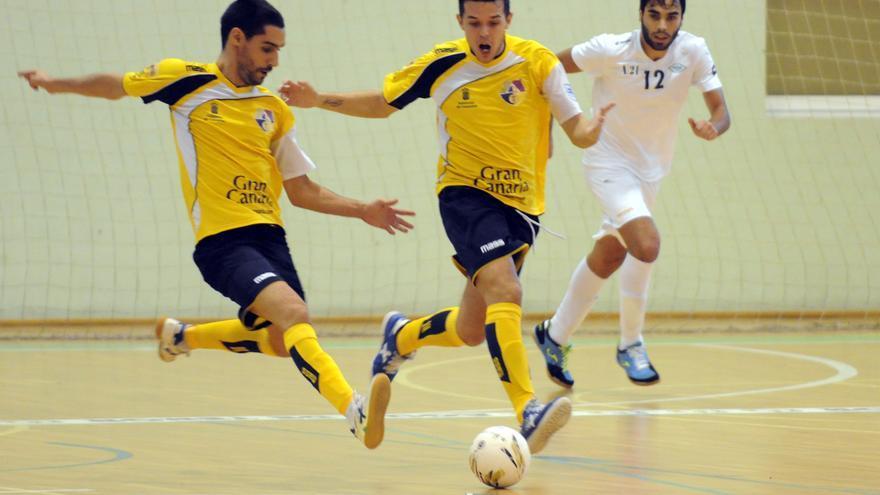 Los jugadores del Gran Canaria FS en Teror ante el Prone Lugo. (Imagen cedida por el club isleño).