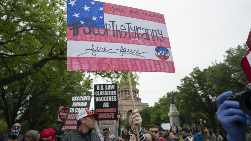 Imagen de la protesta en Texas contra las restricciones por el coronavirus el 18 de abril.
