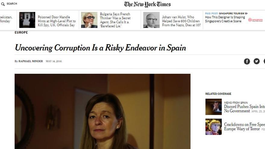 La denunciante de la rama de Gürtel en Boadilla del Monde (Madrid), en 'The New York Times'.