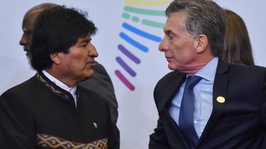 Evo Morales y Mauricio Macri, durante la Cumbre de las Américas.
