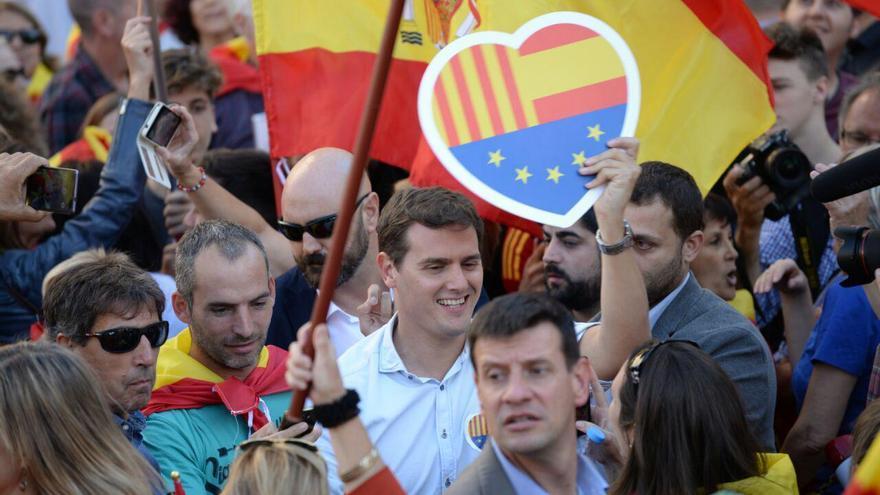 El dirigente de Ciudadanos, Albert Rivera, en la manifestación de Barcelona